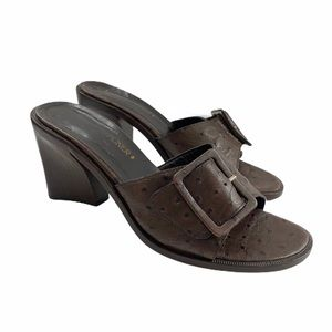 Donald J Pliner Chocolate Brown Ostrich Mules slip